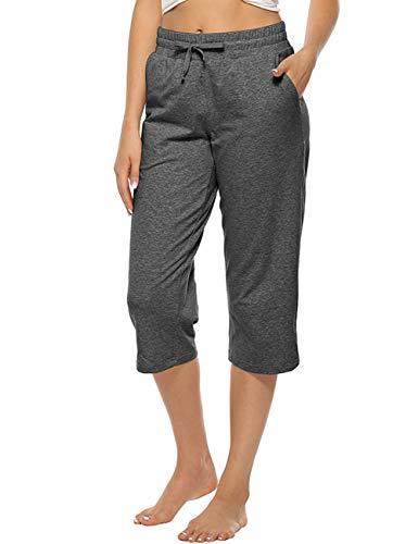 MOCOLY Women Capri Pants Elastic Waist Wide Leg Joggers Casual Lounge Cotton Sweatpants Breathable Trousers with Pockets Deep Grey XXL