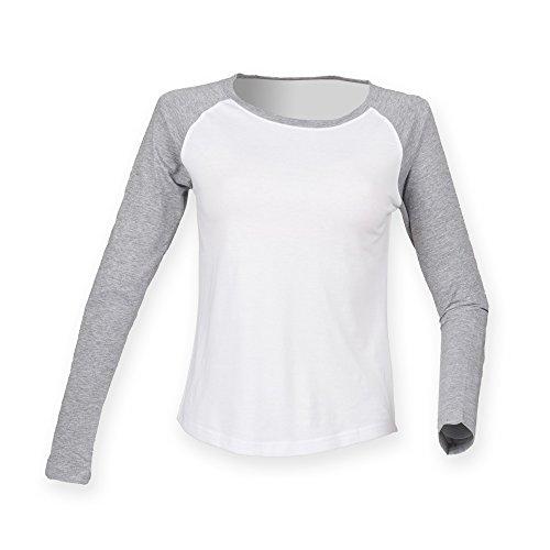 Skinni Fit Damen Baseball T-Shirt, langärmlig (S) (Weiß/Grau meliert)