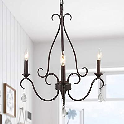 LALUZ Rustic Farmhouse Chandelier, Bronze French Country Chandeliers, Industrial Iron Metal with 4 Crystal Droplets Pendant Lighting, 3 Lights, for Dining Room, Living Room, Kitchen, Bedroom