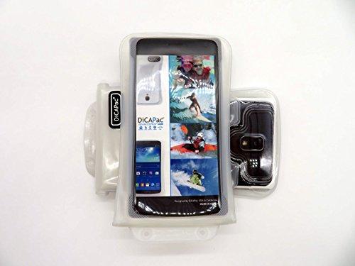 DiCAPac WP-C2 Universelle wasserdichte Hülle für Oppo Find 7 / Find 7a / N1 Mini / R5 / U3 Smartphones in Weiß (Doppel-Klettverschluss, IPX8-Zertifizierung zum Schutz vor Wasser bis 10 m Tiefe; integriertes Luftkissen treibt auf dem Wasser und schützt das Gerät; extraklare Polycarbonat-Fotolinse; inklusive Trageriemen)