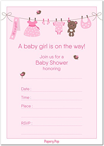 30 Baby Shower Invitations Girl with Envelopes (30 Pack) - Baby Girl Shower Invite Cards - Fits Perfectly with Pink Baby Shower Decorations and Supplies for Girls