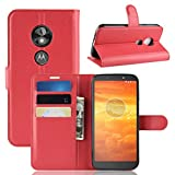 LMFULM® Hülle für Motorola Moto E5 Play (5.3 Zoll) [Fit UK Version only] PU Leder Magnet Brieftasche Lederhülle Handytasche Litschi Muster Standfunktion Ledertasche Flip Cover Rot