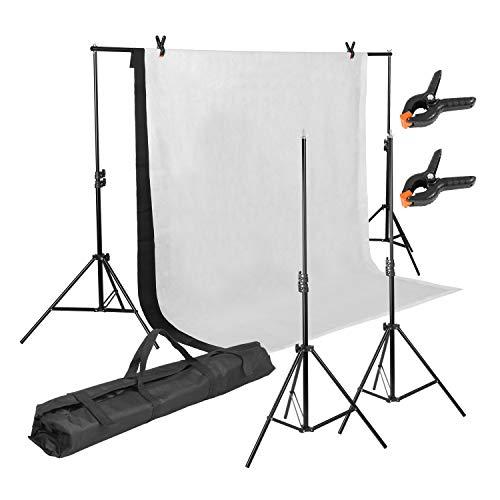 MVPOWER Profi Studio Hintergrundsystem Fotostudio Teleskop Fotoständer Kit inkl. Softbox (2X3M Stativ mit 1.6 * 2M Stoff A)