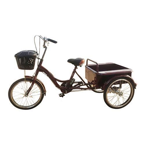 Bici Tres Ruedas Adulto, Bicicleta Adulta Bicicleta Pedal Ciclismo con Cesta para Deportes Al Aire Libre Compras Ajustable (Color : Yellow)