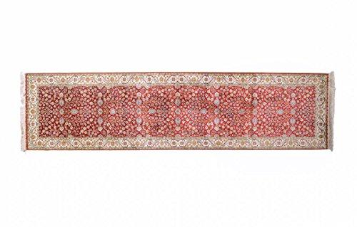 Nain Trading Herike Seide 300x78 Orientteppich Teppich Läufer Beige/Rosa Handgeknüpft China