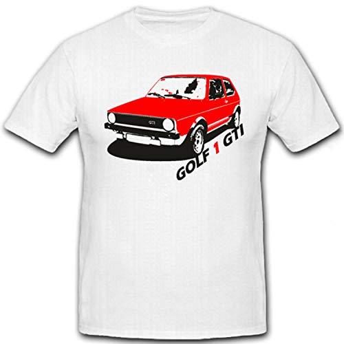 Golf 1 GTI Oldtimer Tuning Sportwagen Wagen Fahrzeug Kfz - T Shirt #7297, Größe:XL, Farbe:Weiß