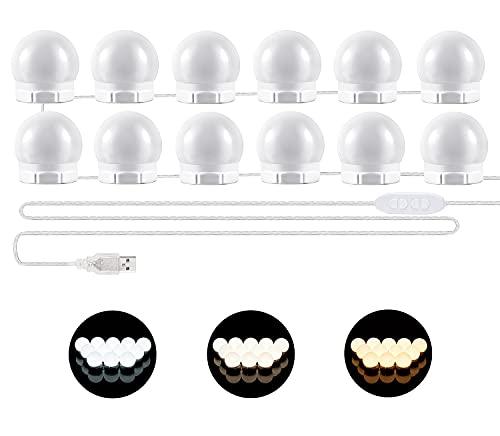 Luci da Specchio - Luci LED Stile Hollywood per Trucco,12 Lampadine Dimmerabili a Specchio Cosmetico, Illuminazione Tavolo Trucco Vanità, Specchio non Incluso [Classe di efficienza energetica A]