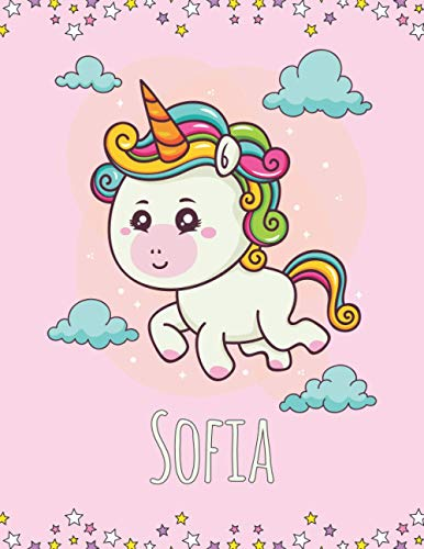 Sofia: Personalized unicorn sketchbook drawing & journal , 100 Pages, ''8.5x11'', Soft Cover, Matte Finish for Girls who loves unicorns. Gift for Kids , & Valentine's Day