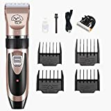YiG Dog Clippers Pet Grooming Clipper, Low Noise Electric Hair Clippers Set for Dogs Cats Pets, USB Rechargeable Cordless Shavers Pet Professional Grooming Kit Tools(Rose Gold)