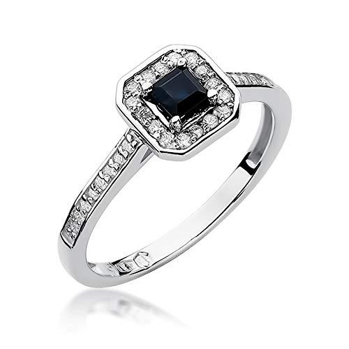Anillo para mujer de oro blanco 585 de 14 quilates, zafiro auténtico, piedras preciosas y diamantes de imitación