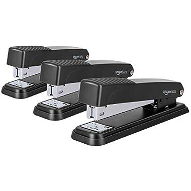 Amazon Basics Stapler, Full-strip Desktop Stapler, Metal Office Stapler, 20 Sheet Capacity, 3-Pack