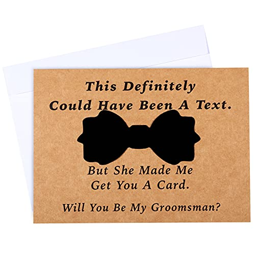 8 Pieces Groomsmen Proposal Cards with Tie and Envelope, 7 Will You Be My Groomsman Cards and 1 Will You Be My Best Man Asking Card Invitation Funny Groomsman Cards for Wedding, 7 x 5 Inch