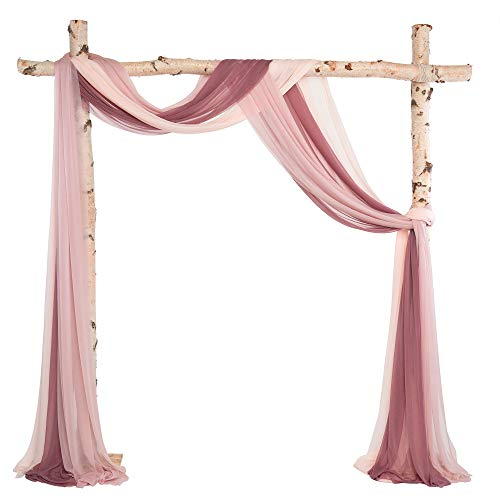 Ling's moment 3 Panels 20Ft Wedding Arch Draping Fabric Backdrop Drapery (Dusty Rose + Mauve+Blush)