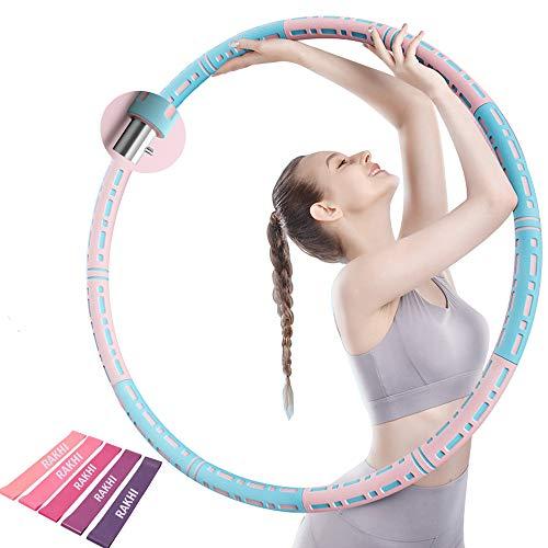 Hula Hoop Reifen, Hoop Erwachsene mit Einstellbarem Gewicht, 6 Abnehmbare Teile Gespleißt, Hula Reifen für Fitness/Trainin/Aerobic - Hoola Hoop mit Widerstandsbänder