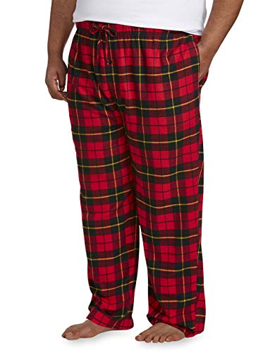 Amazon Essentials Men's Big & Tall Flannel Pajama Pant fit by DXL, Red Plaid, 2X