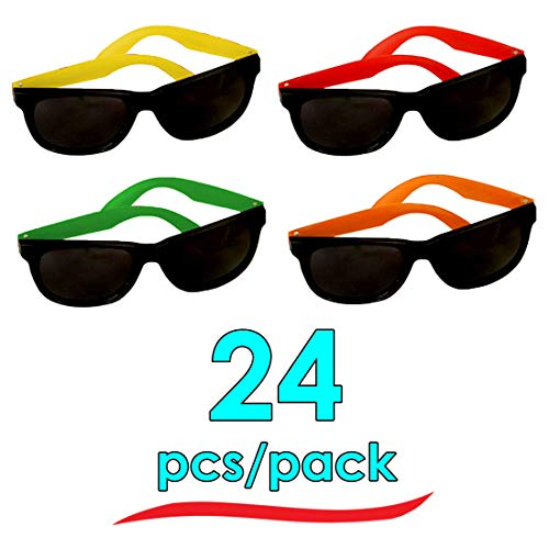 24 Pairs of Adult Neon Long Lasting 80's Retro Vintage Party Eyewear ,Shades ,Sunglasses For Adults By Dazzling Toys
