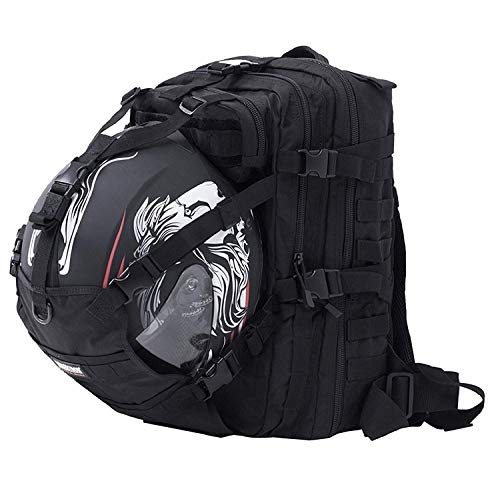 Seibertron Waterproof Large Capacity Molle Motorcycle Helmet Holder/Cycling Helmet Storage/Hiking Helmetcatch Bag/Backpack Also Fit Basketball Football Soccer Backpack Black