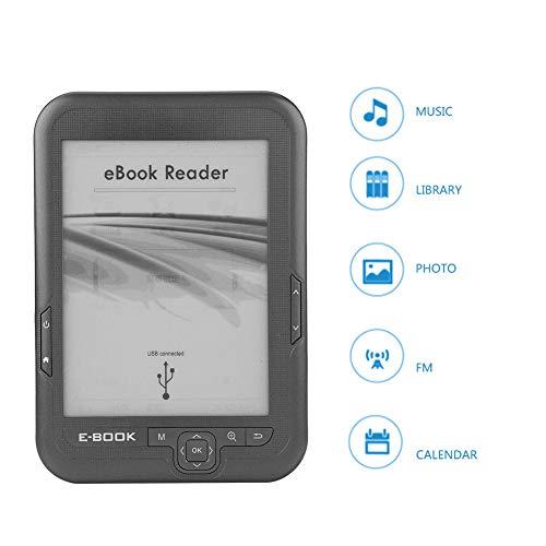 Lector Libros Electrónicos, 6 Pulgadas 4GB Resolución 800 x 600 Lector de Libros Electrónicos Tinta Electrónica Portátil con FM Soporte 32GB Tarjeta TF para Viajes, Exterior, Interior, etc.