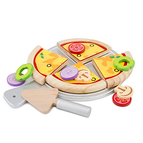 New Classic Toys Wooden Pretend Play Toy for Kids Pizza Set Cooking Simulation Educational Toys and Color Perception Toy for Preschool Age Toddlers Boys Girls
