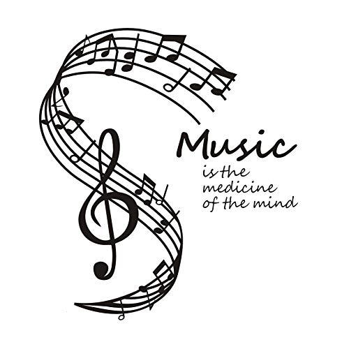 Pegatinas de pared para citas de dormitorio, la música es la medicina de la mente Nota para accesorios modernos Oficina extraíble Niños Regalo Murales Papel tapiz Niños Pegatinas Dormitorio 59x66cm