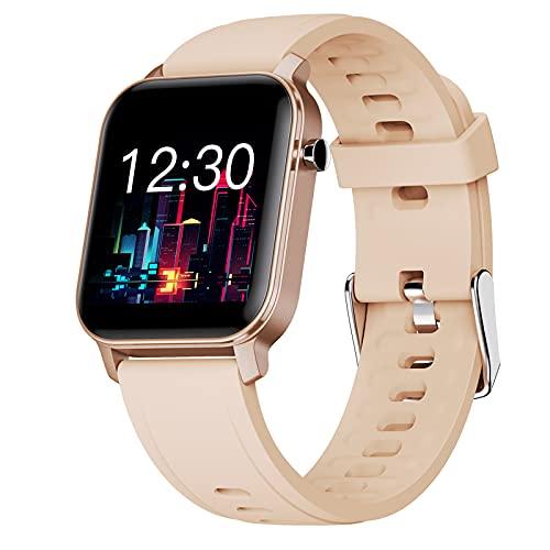 QFSLR Smartwatch, Reloj Inteligente Impermeable IP68 para Hombre Mujer, Pulsera Actividad con Monitor De Frecuencia Cardíaca Monitoreo De Oxígeno En Sangre Reloj Deportivo,Oro