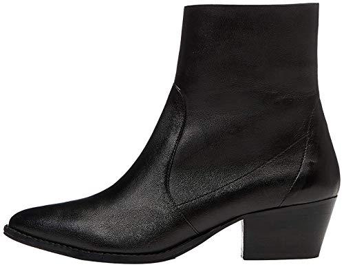 find. Unlined Western Leather Mokassin Boots, Schwarz Black), 39 EU