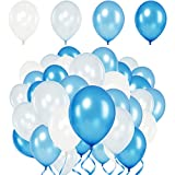 Premium Luftballons Blau, Weiß, Babyblau, Royalblau•Heliumluftballons•50X•4 Farben•XL Größe•Metallic Ballons für Hochzeit, Geburtstag•extra reißfest