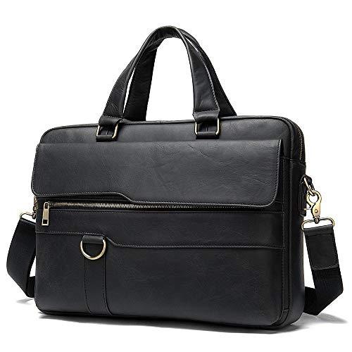 Leather Men's Briefcase Horizontal Leather Large-Capacity Handbag 15 inch Laptop Bag Travel Bag-Dark Grey