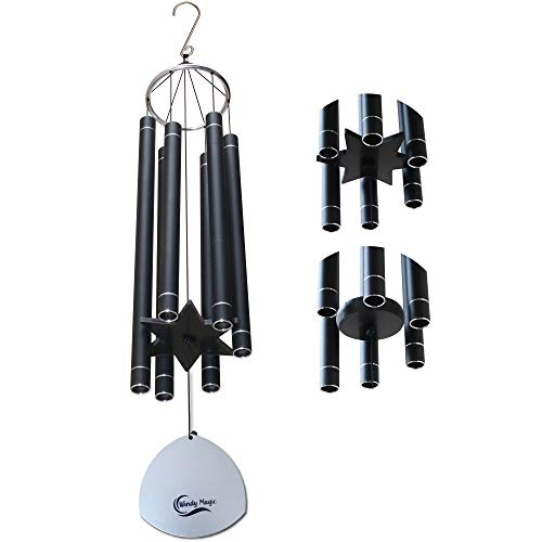 WINDY MAGIC Outdoor Wind Chimes  Large Wind Chimes for Outside Deep Tone 36 in Unique Design Hand Tuned Chimes for Outdoors Soothing amp Relaxing Low Tone Sound