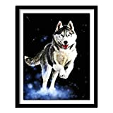 Perro de nieve 5D Diy pintura de diamante punto de cruz husky completo bordado de diamantes redondos lobo blanco y negro lobos de diamantes completos