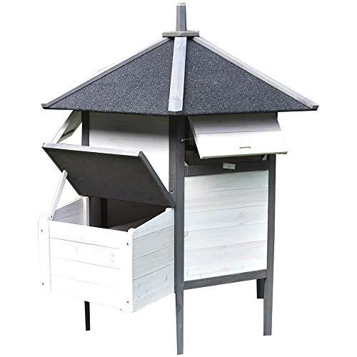 Melko Hühnerstall 6-Eck Hühnerhaus 131x125CM Hühnervoliere aus Holz Geflügelstall mit wasserdichter Dachpappe inkl. Nestbox