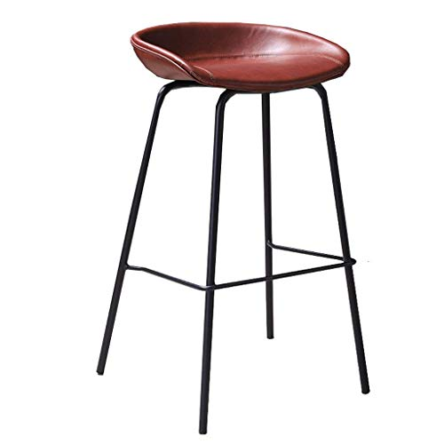N/Z Daily Equipment Chaise Bar Stools Bar Chair Counter Height Stools with Metal Legs and Footrest/Breakfast High Seating and Bistro Chair for Kitchen Home Counter Leisure Reception Red High 75cm