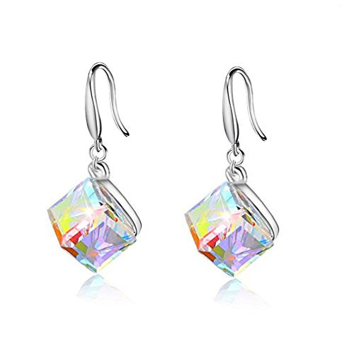 Uloveido Collar de Cristal Austriaco de Plata de Ley 925 para Mujer Pendientes Colgantes Juego de joyería de Boda Que Cambia de Color mágico Y418