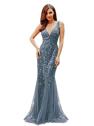 Ever-Pretty Vestito da Ballo Donna Sirena Paillettes Tulle Petto Basso Scollo a V Senza Maniche Stile Impero Marina Polverosa 36