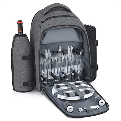 Gonex Picnic Backpack Bag for 4 Person with Insulated Cooler Compartment, Fleece Blanket, Detachable Wine Holder, Cutlery Set (Gray)