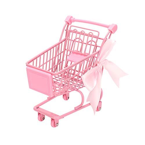 Doitool Mini-Korb für Einkaufswagen, Eisen-Trolly für Schreibtisch, Aufbewahrung, Foto-Requisiten, Größe S, 1 Stück, rose, Größe 1