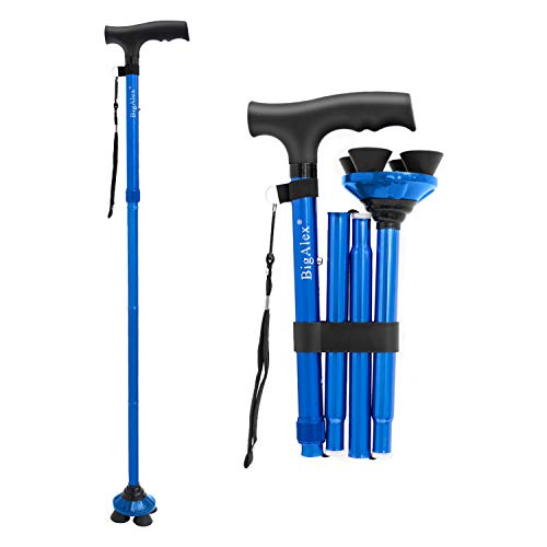BigAlex Folding Walking Cane Adjustable & Portable Walking Stick,Pivoting Quad Base,Lightweight,Collapsible with Carrying Bag for Men/Woman(Blue)