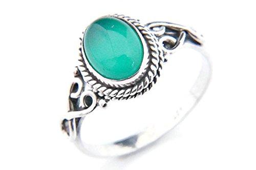 Anello argento 925 con onice verde 1 (No: MRI 42), dimensioni anello:52 mm/Ø 16.5 mm