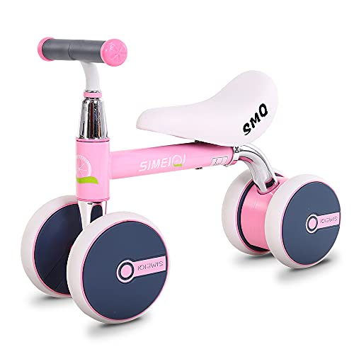 SIMEIQI Baby Balance Bike for 1-2 Year Old Boys Girls Toddlers Riding Toy,Baby Scooter Walker Push Bicycles,Ride on Bike for Kids,Best First Birthday Gift (Pink)