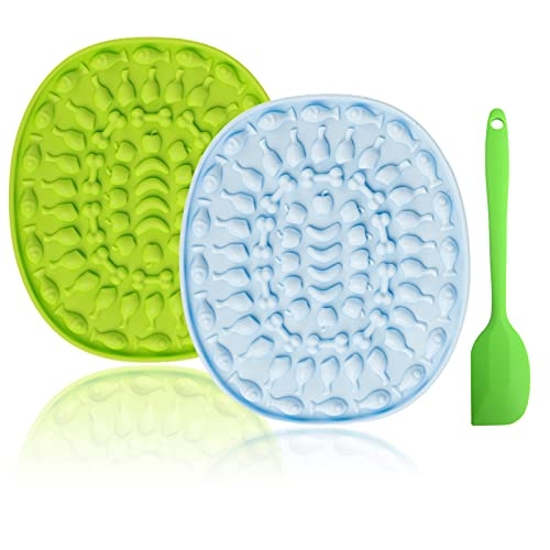2 Pack Dog Lick Mat, Pet Slow Treat Dispensing Mat with Spatula, Boredom & Anxiety Reducer, for Food, Treats, Yogurt, or Peanut Butter, for Fun Licking Mat for Dogs&Cats (Green and Yellow)