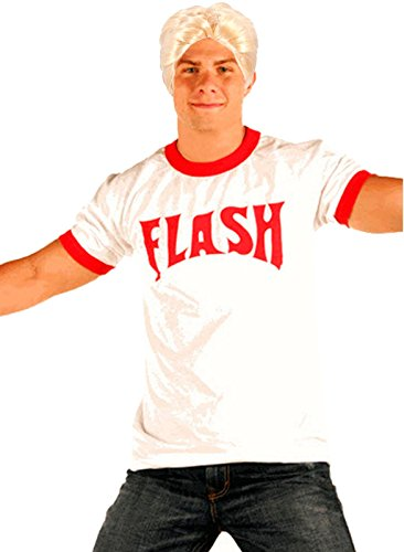 Flash Gordon Logo Rojo Ringer–Camiseta Blonde peluca Disfraz Set Weiß medium