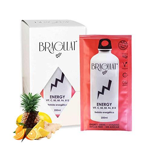 BRAGULAT | Pack de Bebidas y Refrescos Energéticas Instantáneas en Polvo | Sin Azúcar y con Vitamina C, B3, B5, B6 YB12 | 15 Sobres