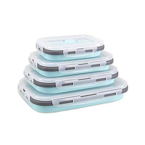DUBENS Silikon Faltbare Frischhaltedosen 4 TLG, faltbar, für Lebensmittel Aufbewahren, Einfrieren und Erwärmen, Lunchbox/Bento, mikrowellen, spülmaschinen, gefrierschrank, ofenfest (Blau)