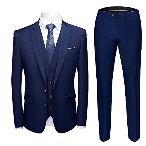 Einfarbiger Anzug für Herren dreiteiliger Anzug (Mantel + Weste + Hose) Business Plus Größe 6XL Hochzeitsanzug Jacke