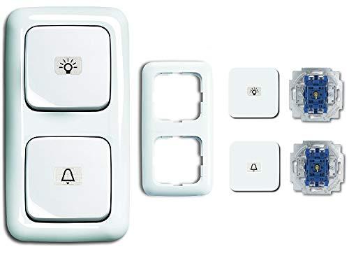 Busch Jäger Klingel & Lichtschalter Set, Glocken- & Klingel Symbol permanent beleuchtet Taster 2020 USGL - 2 fach Rahmen - alpinweiß - Reflex SI - 2145 LI - 2145 KI