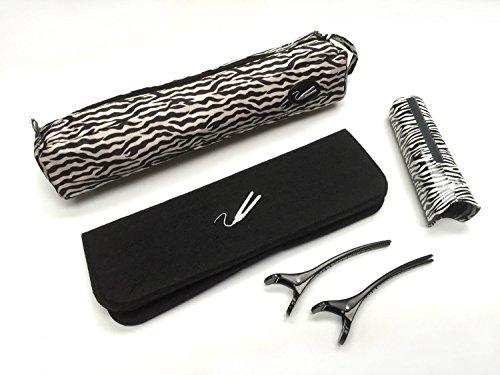 Juego de alisadores de pelo con estampado de cebra para Cloud 9, SHE y GHD con bolsa, protector, alfombrilla y clips
