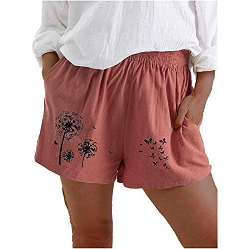 Mujeres de Verano Casual Cintura Alta Pantalones Cortos Termos de algodón de Bolsillo Lino Suelto