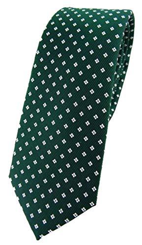 TigerTie - Corbata de seda de diseño estrecho con lunares estampados., Verde, verde oscuro, blanco plateado, Talla única