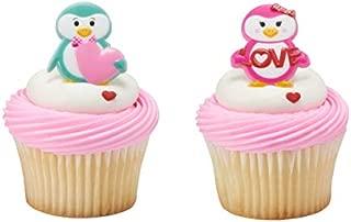 Valentine's Day Penguin Cupcake Rings - 24 pc