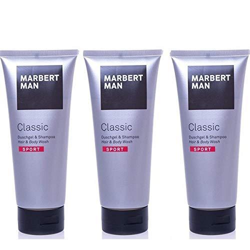 MARBERT Man Classic Sport Duschgel & Shampoo, 3 x 200 ml